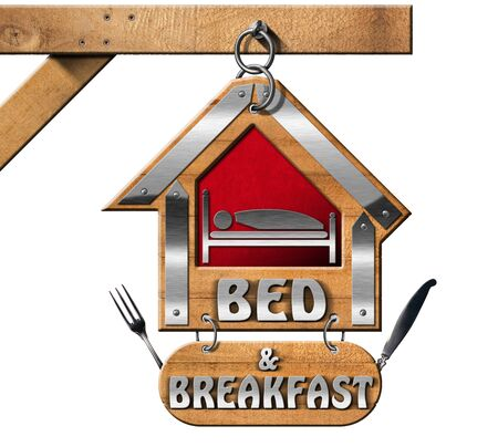 bb: Wooden and metallic sign in the shape of house with text Bed and Breakfast. Hanging from a metal chain and isolated on white background