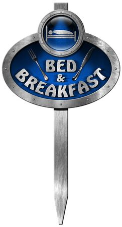 breakfast in bed: Metallic and blue sign with pole, text Bed  Breakfast and silver cutlery. Isolated on white background
