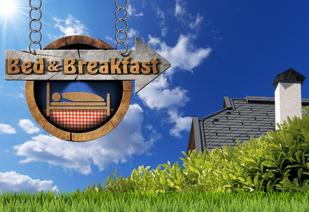 bb: Wooden directional sign with text Bed  Breakfast. Hanging from a metal chain on blue sky with roof, clouds and sun rays