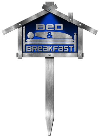 guest house: Metallic and blue sign in the shape of house with text Bed  Breakfast and pole. Isolated on white background