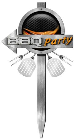 cuisine entertainment: Metal directional sign with pole, arrow with text Bbq Party, metallic grill, flames, forks and spatulas. Isolated on white background Stock Photo