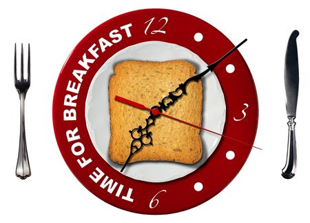 seven o'clock: Clock composed by a white plate, red underplate and rusk with silver fork and knife isolated on white background. Text, Time for breakfast