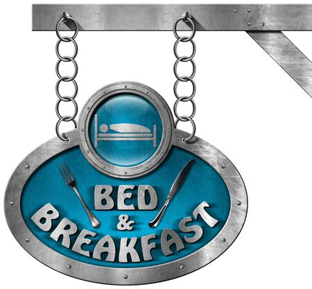 breakfast in bed: Metal sign with text Bed  Breakfast and silver cutlery. Hanging from a metal chain and isolated on white background