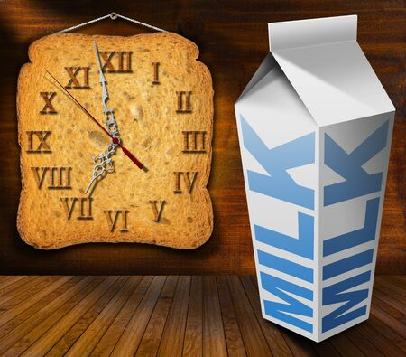o'clock: Clock made with a rusk and white packaging of fresh milk with text Milk, on wooden table and wooden wall