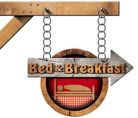 Muestra direccional de madera con el texto Bed Breakfast. Colgando de una cadena de metal y aislado en el fondo blanco