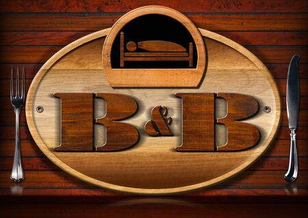 breakfast in bed: Oval wooden sign with text BB Bed and Breakfast and silver cutlery on a brown wooden wall. Stock Photo