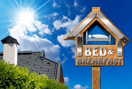 bb: Wooden and metallic sign in the shape of house with text Bed  Breakfast on blue sky with roof, clouds and sun rays