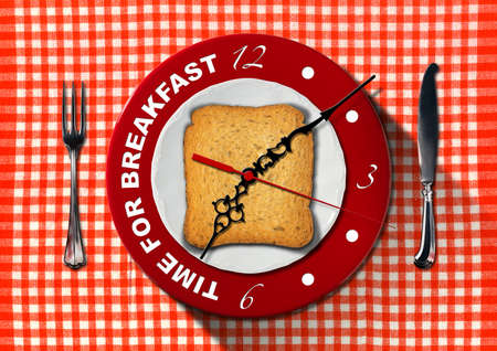 seven o'clock: Clock composed by a white plate, red underplate and rusk on red and white tablecloth with silver cutlery. Text, Time for breakfast