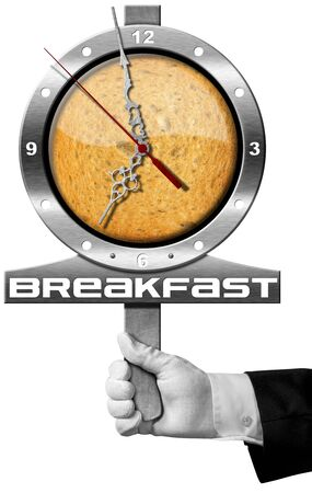 seven o'clock: Hand of chef holding a metal sign with clock, rusk and text Breakfast. Isolated on white background