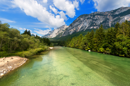 drava: The green Gail River the largest tributary of the Drava River. Carinthia, Austria