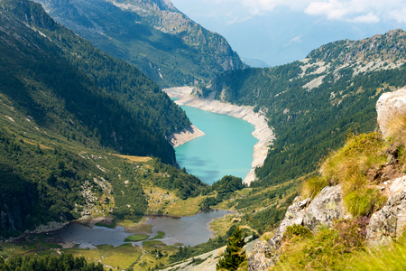 manmade: Ghilarda Valley and Lake of Arno man-made lake seen from Campo pass. Adamello, Lombardy, Italy