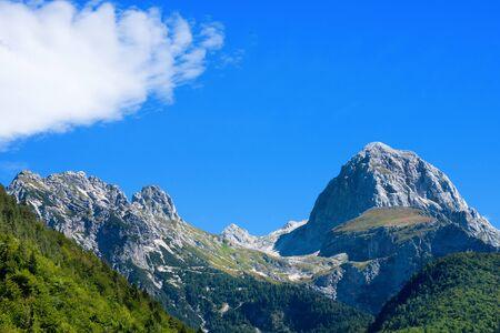 rocky peak: Rocky peak of Mount Mangart 2679 m, Julian Alps, seen from the Slovenian border. In the Triglav National Park, Slovenia, Europe