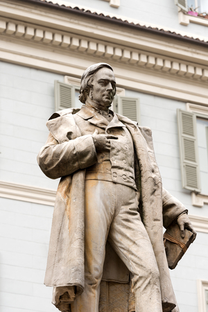 theologian: Detail of monument dedicated to Vincenzo Gioberti 1801-1852, presbyter, Italian patriot and philosopher. Piazza Garignano, Torino, Piemonte, Italy