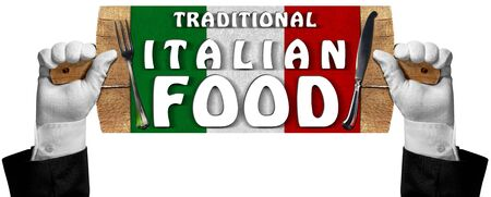 cutting board: Two hands with white gloves holding a wooden signboard in the shape of a cutting board with text, Traditional Italian Food, silver cutlery. Isolated on white Stock Photo