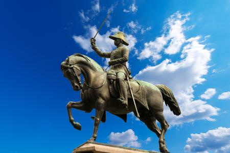 risorgimento: Equestrian monument 1861 dedicated to Carlo Alberto di Savoia, king of Sardinia and prince of Turin. Carlo Alberto square, Torino, Piemonte, Italy Stock Photo