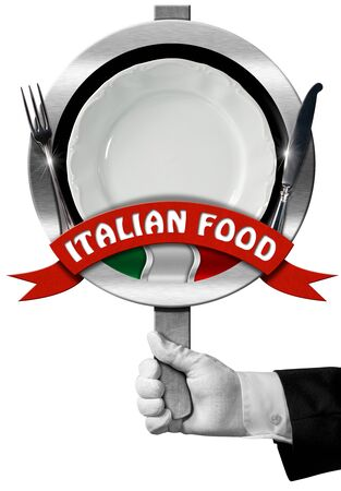 italy food: Hand of chef with white glove holding a sign with text Italian Food, silver cutlery, empty plate and italian flag. Isolated on white background Stock Photo