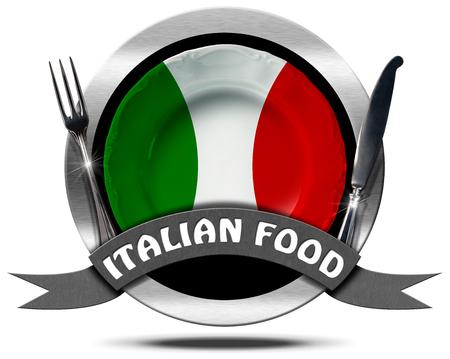 Metaal of symbool met plaat gekleurd met de kleuren van de Italiaanse vlag, zilveren bestek, tekst Italiaans eten. Geïsoleerd op witte achtergrond