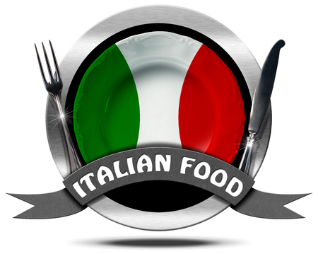 Metal icon or symbol with plate colored with the colors of Italian flag, silver cutlery, text Italian Food. Isolated on white background