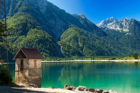 Lago del Predil Predil Lake, beautiful alpine lake in north Italy near the Slovenian border. Julian Alps, Friuli Venezia Giulia, Italy