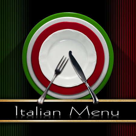 italy food: Restaurant menu with green, red and white Italian flag, text Italian Menu, white plate and silver cutlery