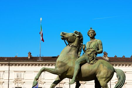 cavalryman: Equestrian statue of Pollux, in the Royal Palace Palazzo Reale in Turin Torino, Piedmont Piemonte, Italy Stock Photo