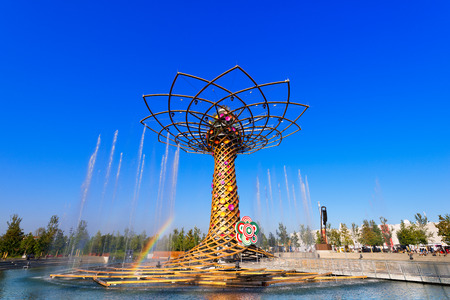 water play: MILAN, ITALY - AUGUST 31, 2015: The tree of life during water play show at Expo Milano 2015, universal exposition on the theme of food, in Milan, Lombardy, Italy, Europe Editorial