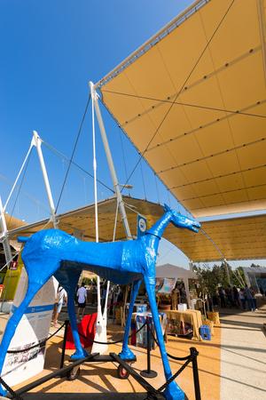 caballo bebe: MILAN, ITALIA - 31 DE AGOSTO, 2015: Pabell�n de las Naciones Unidas en la Expo Milano 2015, exposici�n universal sobre el tema de la comida, en Mil�n, Lombard�a, Italia, Europa Editorial