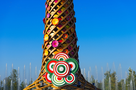 water play: MILAN, ITALY - AUGUST 31, 2015: Detail of The tree of life during water play show at Expo Milano 2015, universal exposition on the theme of food, in Milan, Lombardy, Italy, Europe