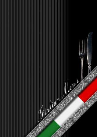 white bars: Restaurant menu with italian flag, silver cutlery, diagonals silver bands and text Italian Menu Stock Photo