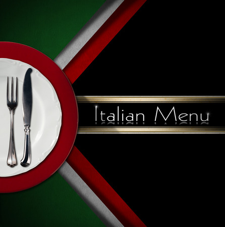 silver cutlery: Restaurant menu with green, red and white Italian flag, text Italian Menu, white and red plate and silver cutlery.