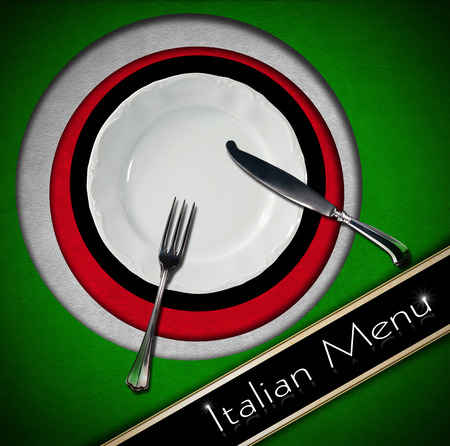 silver cutlery: Restaurant menu with green, red and white Italian flag, text Italian Menu, white plate and silver cutlery.