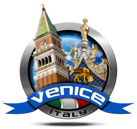 marco: Round metal icon with Italian flag, blue ribbon with text Venice, with the most important monuments of the city, bell tower and cathedral of St. Mark
