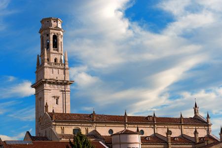 episcopal: Detail of the Verona Cathedral in Romanesque style 1187 - UNESCO world heritage site - Santa Maria Matricolare - Verona, Veneto Italy