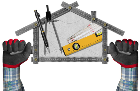 Two hands holding a metal meter ruler in the shape of house with a pencil, drawing compass and a spirit level on a white paper. Concept of house project