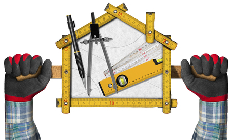 two level house: Two hands holding a wooden meter ruler in the shape of house with a pencil, drawing compass and a spirit level on a white paper. Concept of house project Stock Photo