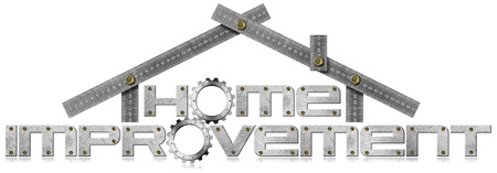 modernization: Metal symbol with text Home Improvement, metal gears and metal meter ruler in the shape of house. Isolated on white background Stock Photo