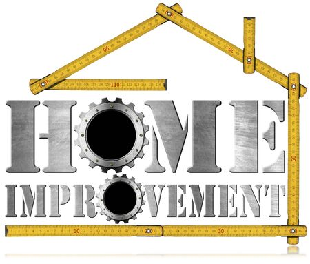 bienes raices: Symbol with text Home Improvement, metal gears and wooden meter ruler in the shape of house. Isolated on white background Foto de archivo