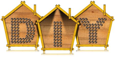 enterprising: Three yellow wooden meter rulers in the shape of houses with text Diy Do it yourself. Isolated on white