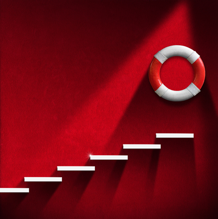 emergency stair: Red room with white staircase and red and white lifebuoy. Concept of help