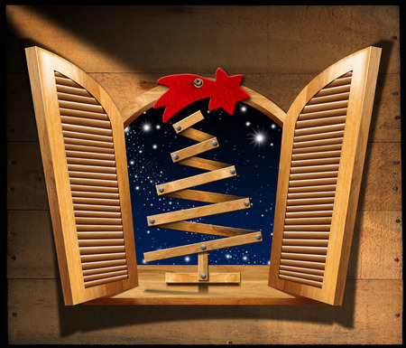 windowsill: Wooden Christmas tree on the windowsill of an open window. Wooden wall with space for text