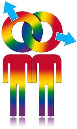 homosexual sex: Gay symbol with the colors of the rainbow - gay relationship concept. Isolated on white background