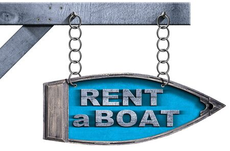 row boat: Wooden directional sign in the shape of row boat with text Rent a Boat. Hanging from a metal chain, isolated on white