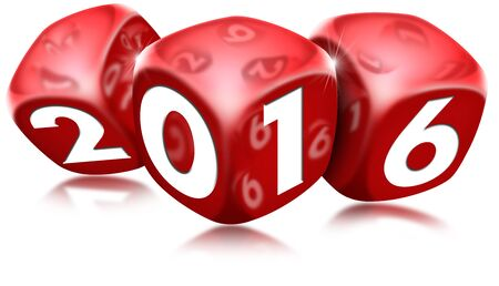 red dice: Three red dice with the written 2016 and reflections