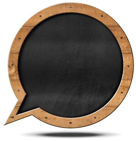 talk bubble: Empty blackboard with wooden frame in the shape of a speech bubble with nails. Isolated on white background Stock Photo
