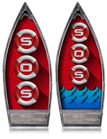 blue velvet: Two rowboats with three lifebuoys inside and text Sos, blue waves and red velvet. Isolated on white background