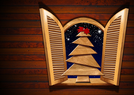 sill: Wooden Christmas tree on the sill of an open window. Wooden wall with copy space