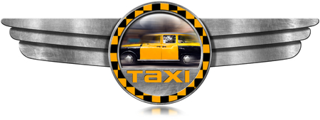 wings: Round winged metal icon with yellow and black Taxi in motion. Isolated on white background