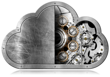 digital data: Metallic symbol in the shape of a cloud with metal gears. Concept of cloud computing