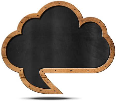 cloud shape: Empty blackboard with wooden frame in the shape of a speech bubble and cloud with nails. Isolated on white background