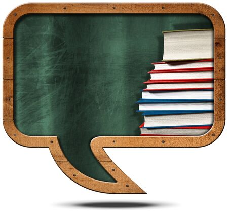 info board: Empty blackboard with wooden frame in the shape of a speech bubble with a stack of books. Isolated on white background
